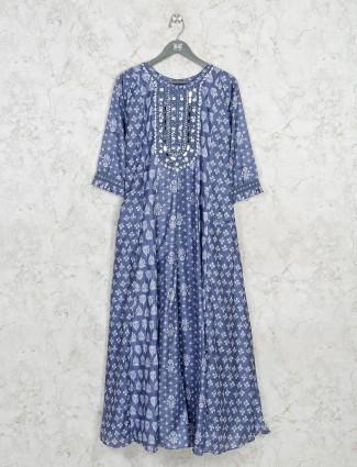 Printed blue casual kurti in cotton