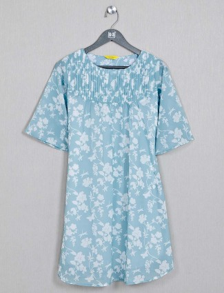 Printed blue cotton womens casual top