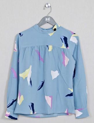 Printed blue designer top in cotton