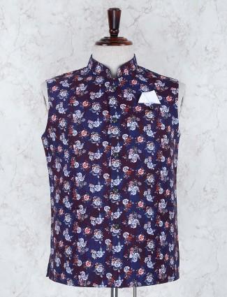 Printed blue hue terry rayon festive waistcoat