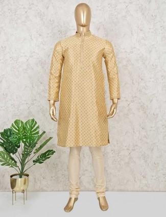 Printed coton kurta sut in gold