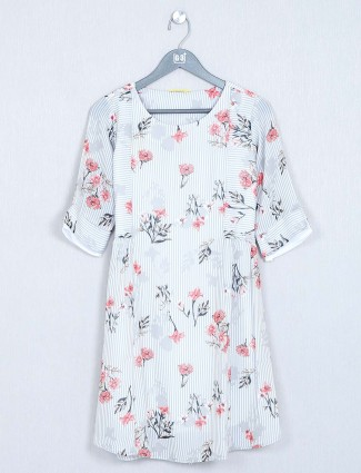 Printed cotton white casual top
