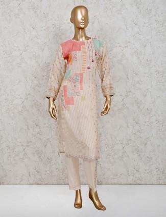 Printed cream colour festive salwar suit