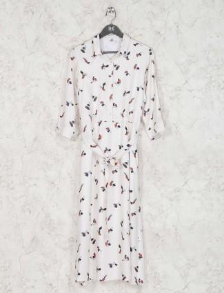 Printed cream cotton dress