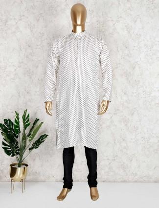 Printed cream cotton kurta suit for festive