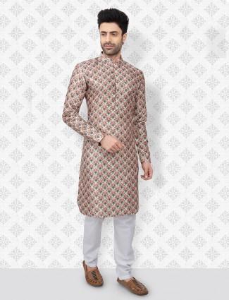 Printed cream hue cotton stand collar kurta suit