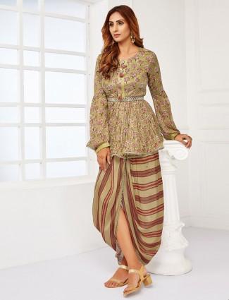 Printed georgette olive punjabi style dhoti suit
