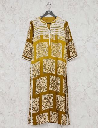 Printed gold cotton festive wear kurti