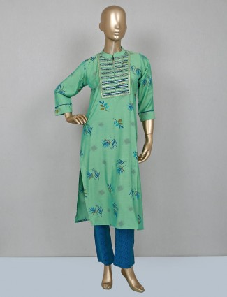 Printed green palazzo set in cotton