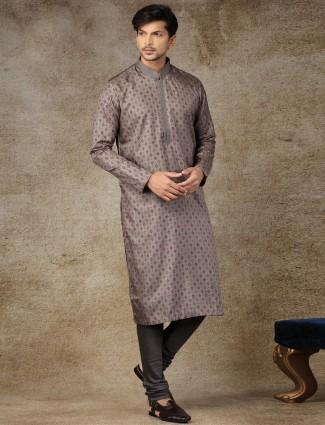 Printed grey silk festive kurta suit