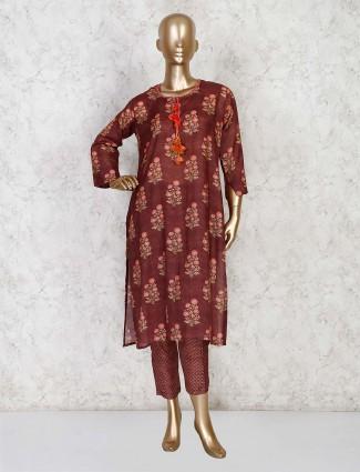 Printed maroon cotton festive pant style kurti set