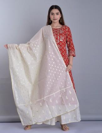 Printed maroon cotton quarter sleeves palazzo set