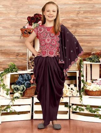 Printed maroon hue cotton silk dhoti suit