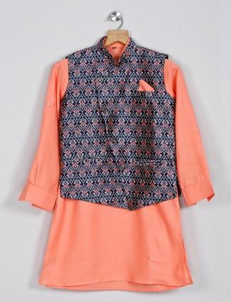 Printed navy and peach cotton kurta suit