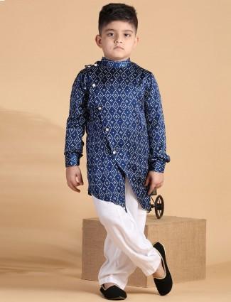Printed navy blue silk kurta suit