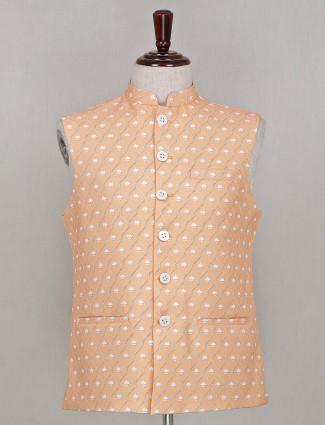 Printed peach silk party waistcoat