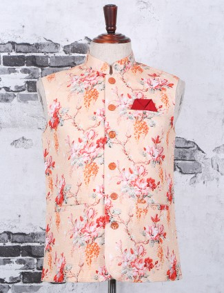 Printed peach terry rayon waistcoat