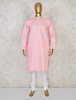 Printed pink cotton mens kurta suit