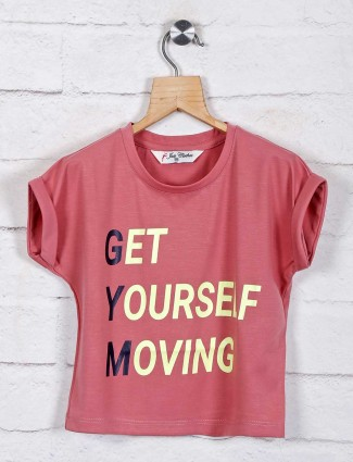 Printed pink cotton top for girls