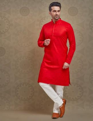 Printed red cotton festive occasion kurta suit