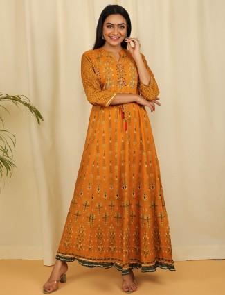 Printed rust orange casual wear cotton kurti