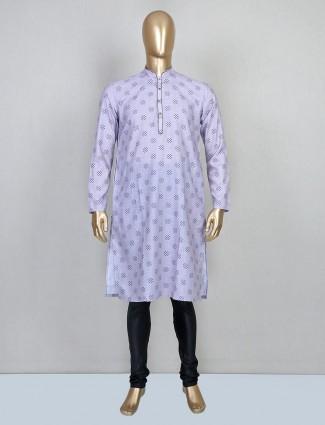 Printed violet cotton kurta suit for mens