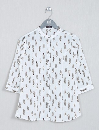 Printed white cotton womens top
