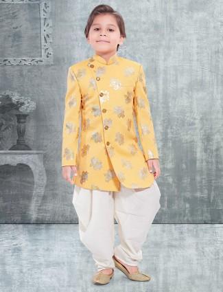 Printed yellow silk boys indo western