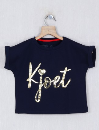 Pro Energy printed navy top in cotton
