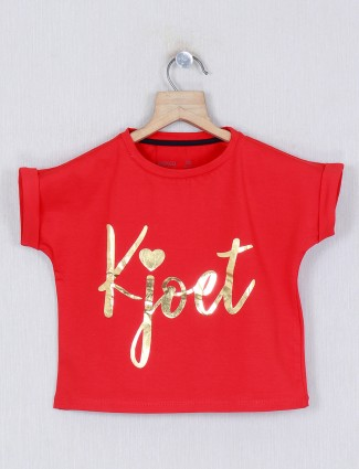 Pro Energy red printed cotton casual top