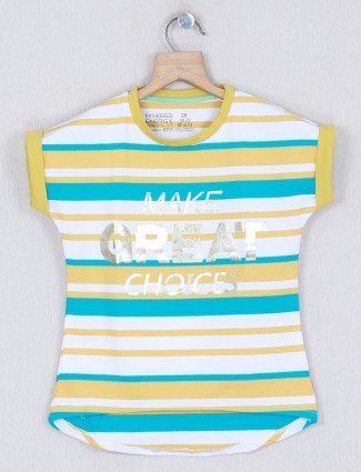 Pro energy stripe cotton top in yellow and white