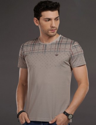 Psoulz beige printed design t-shirt