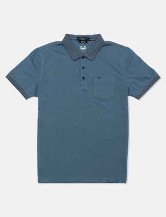 Psoulz casual solid charcoal grey polo t-shirt