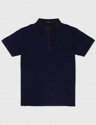 Psoulz navy blue solid t-shirt
