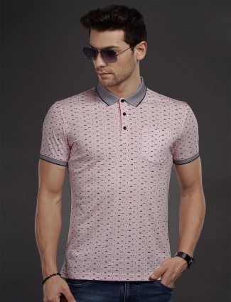 Psoulz pink printed half buttoned placket t-shirt
