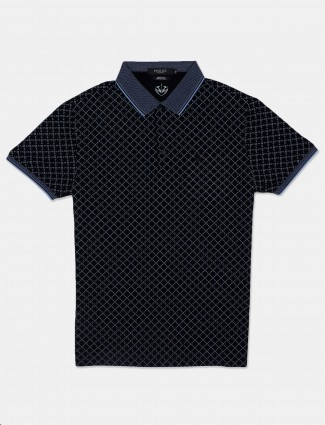 Psoulz printed black casual polo t-shirt