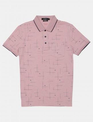Psoulz printed peach t-shirt for casual look