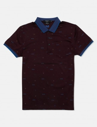 Psoulz printed purple casual polo t-shirt