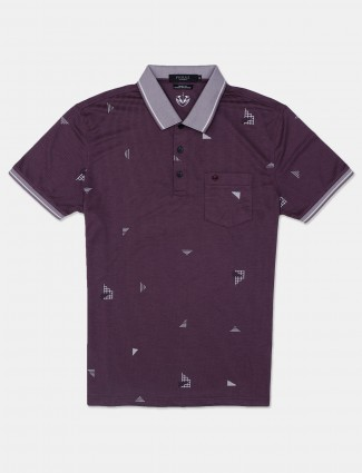 Psoulz printed purple t-shirt for casual look