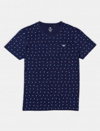 Psoulz slim fit navy printed t-shirt