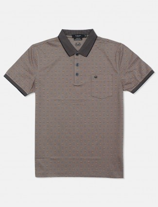 Psoulz slim fit printed brown polo t-shirt