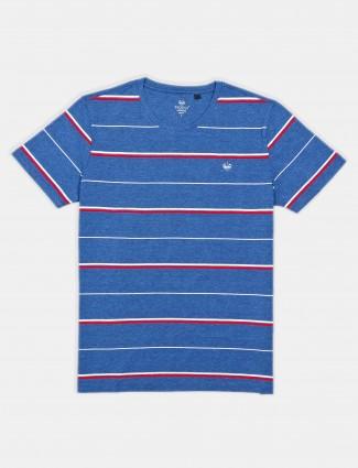 Psoulz stripe blue colour cotton t-shirt