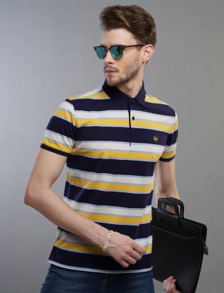 Psoulz yellow color stripe cotton t-shirt