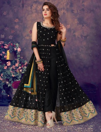 Punjabi style black designer georgette suit
