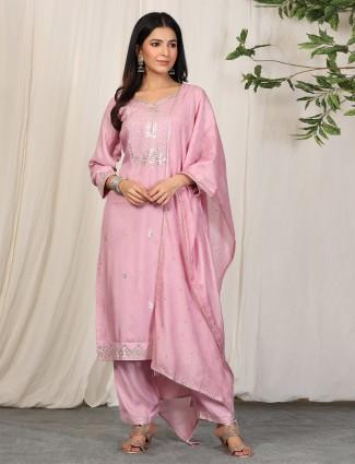 Punjabi style fantastic pink cotton pant suit for festival