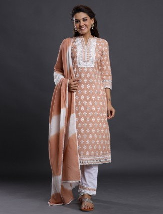 Punjabi style fawn beige festive events printed pant suit