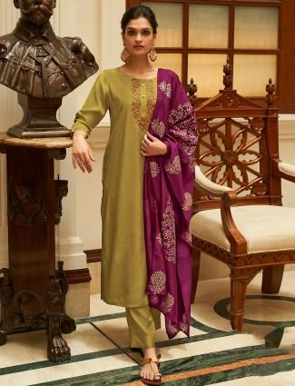 Punjabi style latest olive festive cotton punjabi style pant suit