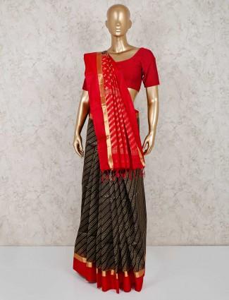 Pure south silk festive black saree