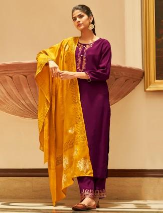 Purple designer cotton festive events punjabi style pant suit