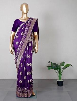 Purple designer silk saree for wedding